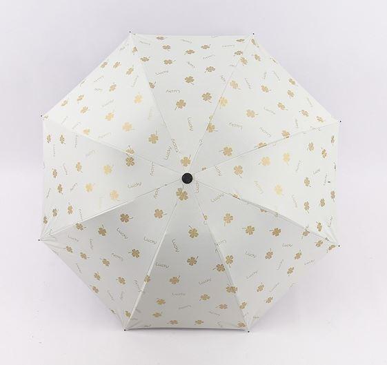 【SALE】晴雨兼用 UVカット 日傘 UV50+ 紫外線遮断 折り畳み傘 クローバー 四つ葉 レディース 撥水 ホワイトグレー 三つ折り_画像2