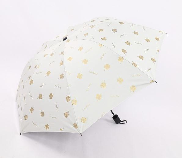 【SALE】晴雨兼用 UVカット 日傘 UV50+ 紫外線遮断 折り畳み傘 クローバー 四つ葉 レディース 撥水 ホワイトグレー 三つ折り_画像1