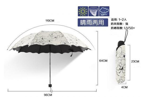 【SALE】晴雨兼用 UVカット 日傘 UV50+ 紫外線遮断 折り畳み傘 クローバー 四つ葉 レディース 撥水 ホワイトグレー 三つ折り_サイズ(デザインは異なります)