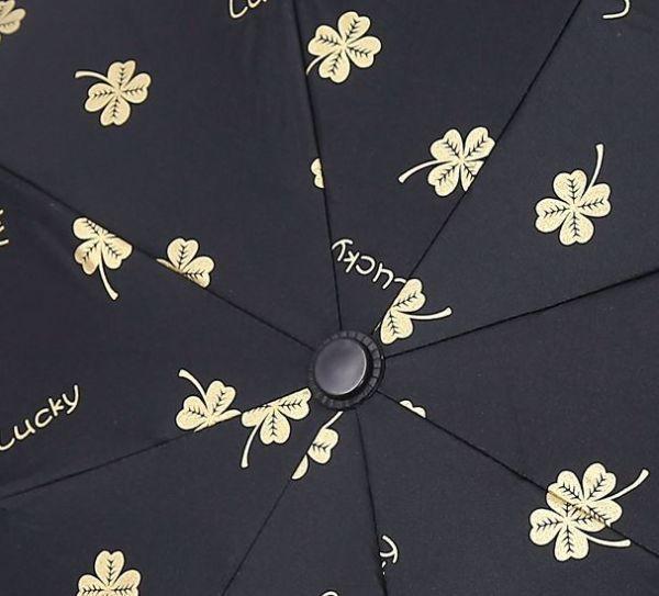 【SALE】晴雨兼用 UVカット 日傘 UV50+ 紫外線遮断 折り畳み傘 クローバー 四つ葉 レディース 撥水 ホワイトグレー 三つ折り_カラーは白です(柄拡大)