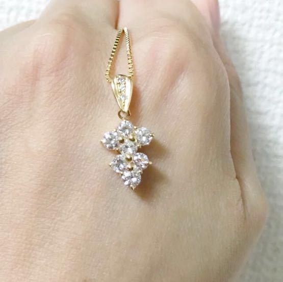 K18ダイヤモンドペンダント 合計1.07ct ダイヤモンドネックレス イエローゴールド_画像2