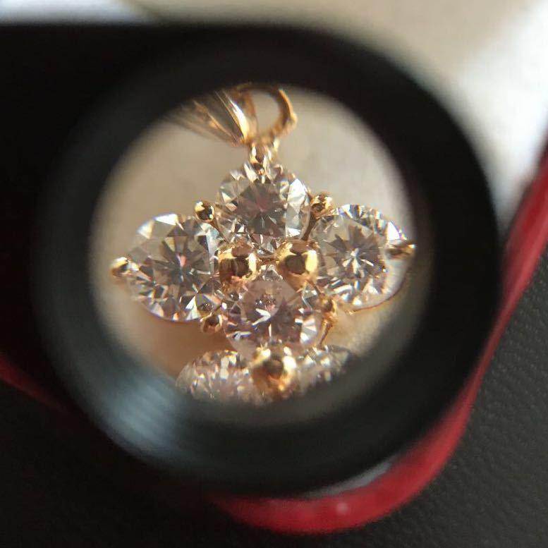 K18ダイヤモンドペンダント 合計1.07ct ダイヤモンドネックレス イエローゴールド_画像5