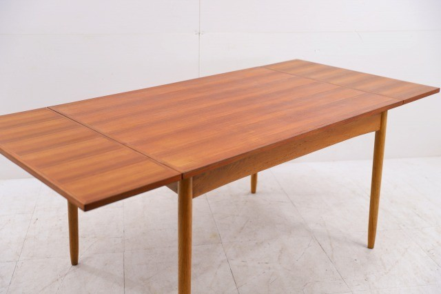 コスガ ビンテージ品 チーク材×オーク材 伸長式ダイニングテーブル ドローリーフ 机 デスク EXテーブル KOSUGA_画像1