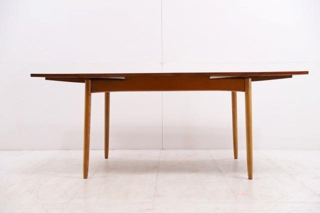 コスガ ビンテージ品 チーク材×オーク材 伸長式ダイニングテーブル ドローリーフ 机 デスク EXテーブル KOSUGA_画像2