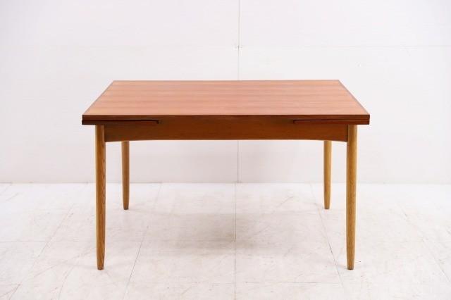 コスガ ビンテージ品 チーク材×オーク材 伸長式ダイニングテーブル ドローリーフ 机 デスク EXテーブル KOSUGA_画像3