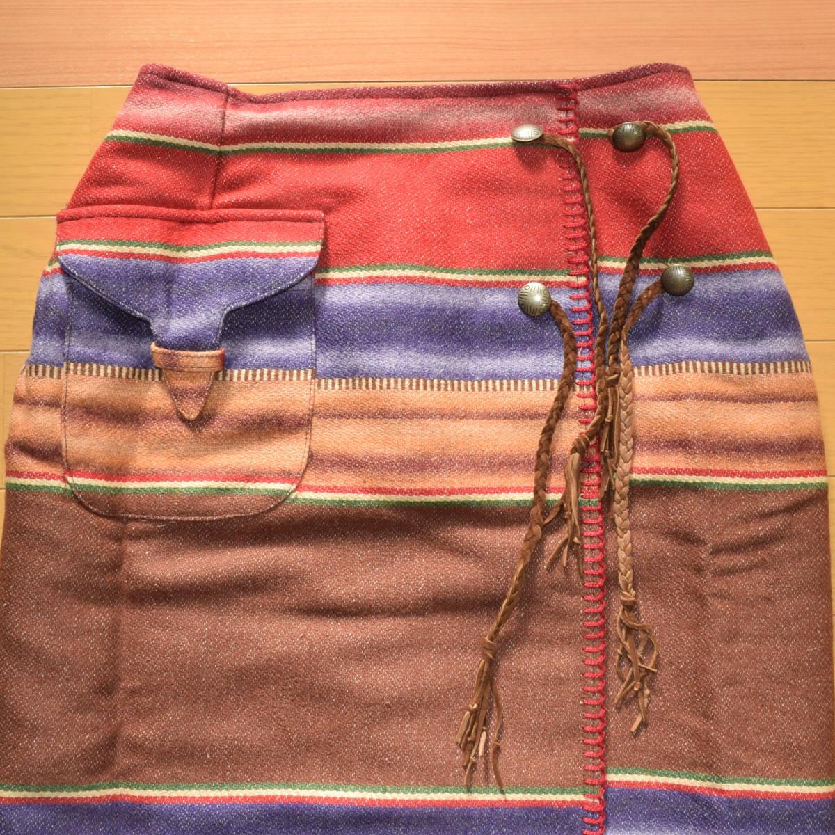 美品!USA製 ポロカントリー ネイティブ柄 ブランケット S ラグ ロング 巻きスカート コンチョ付 古着 ナバホ インディアン ビンテージ_画像2