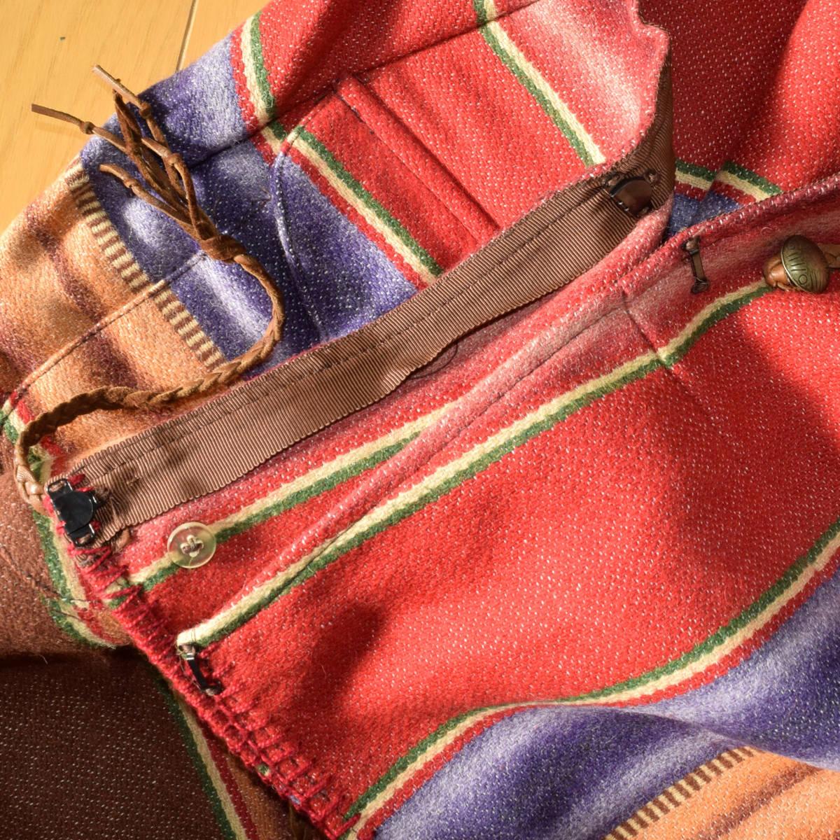 美品!USA製 ポロカントリー ネイティブ柄 ブランケット S ラグ ロング 巻きスカート コンチョ付 古着 ナバホ インディアン ビンテージ_画像9