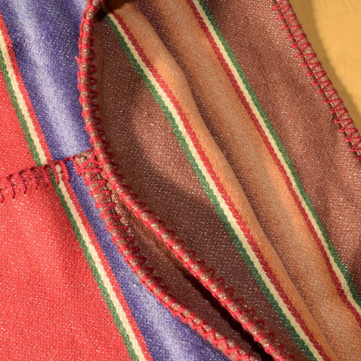 美品!USA製 ポロカントリー ネイティブ柄 ブランケット S ラグ ロング 巻きスカート コンチョ付 古着 ナバホ インディアン ビンテージ_画像5