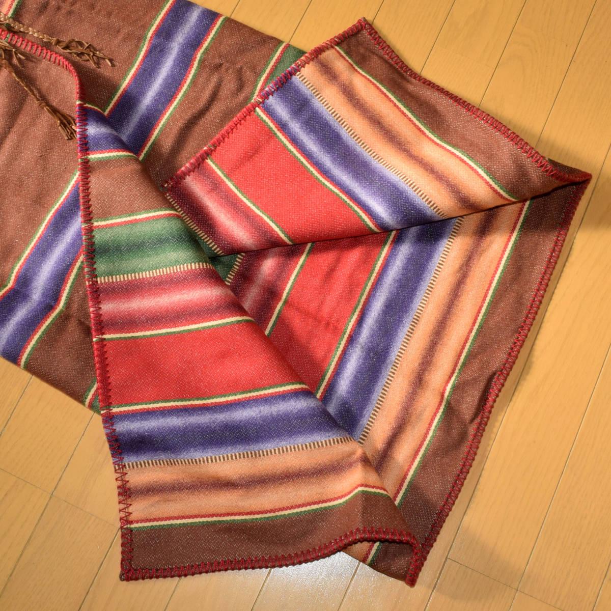 美品!USA製 ポロカントリー ネイティブ柄 ブランケット S ラグ ロング 巻きスカート コンチョ付 古着 ナバホ インディアン ビンテージ_画像4