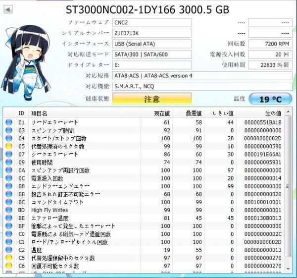 ジャンク品★SEAGATE ハードディスク HDD ST3000NC002 /3TB /SATA600 /7200 rpm/3.5インチ ★★_画像3