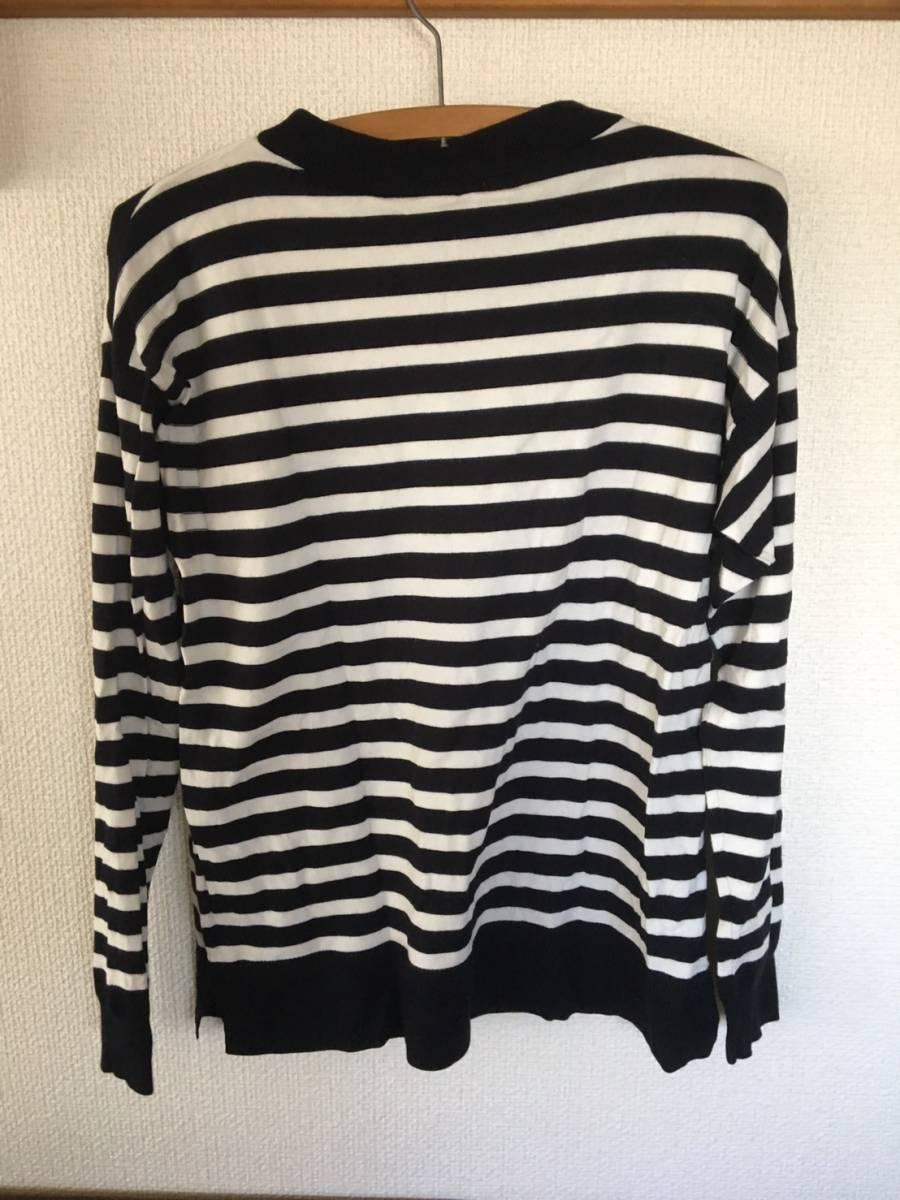 【お買い得!】 ★ ジーユー / GU ★ 長袖ストライプ薄手セーター 「黒 × 白」 Sサイズ (RN16L405)_画像2