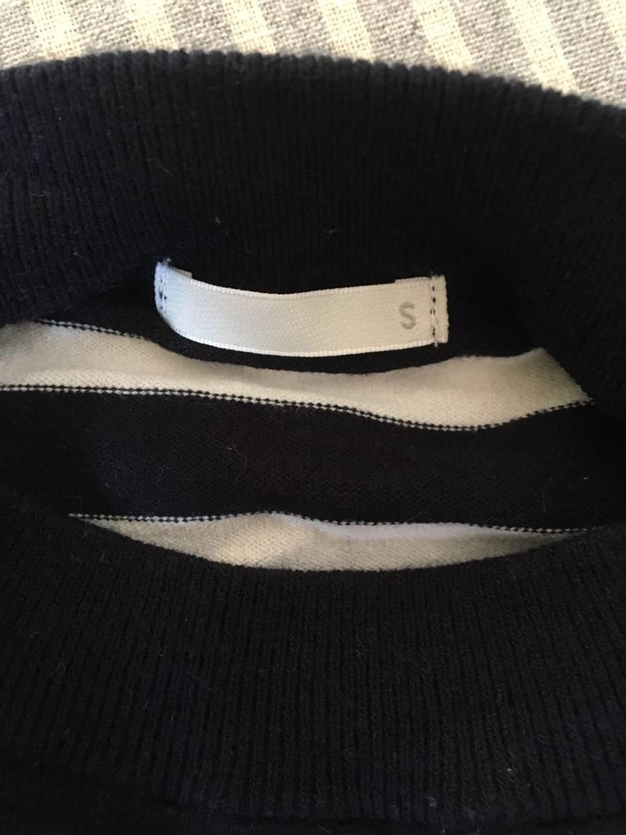 【お買い得!】 ★ ジーユー / GU ★ 長袖ストライプ薄手セーター 「黒 × 白」 Sサイズ (RN16L405)_画像3