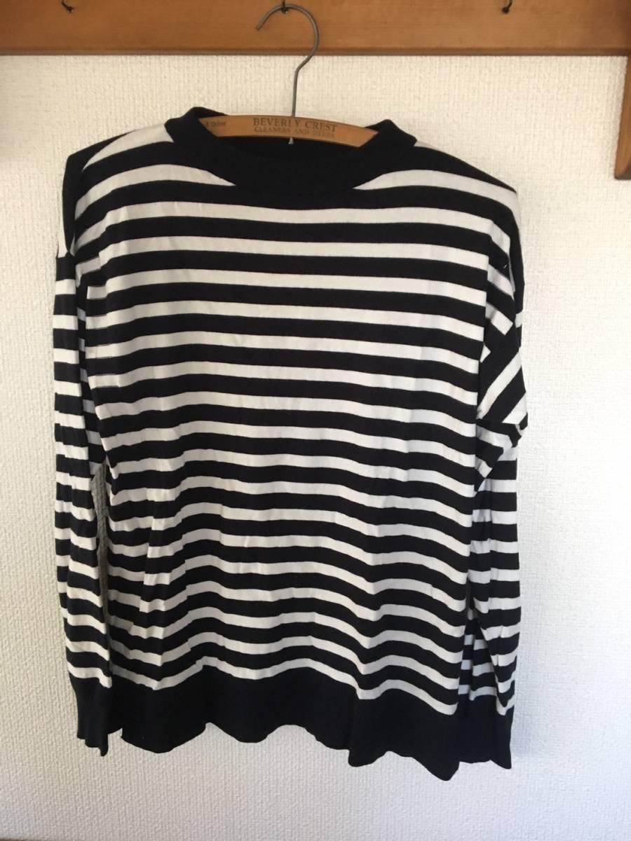 【お買い得!】 ★ ジーユー / GU ★ 長袖ストライプ薄手セーター 「黒 × 白」 Sサイズ (RN16L405)_画像1