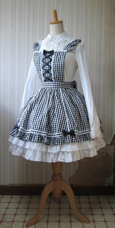 Angelic Pretty SK 黒×白ギンガムチェック 後ろバッスル 胸当て付きスカート・エプロンスカート