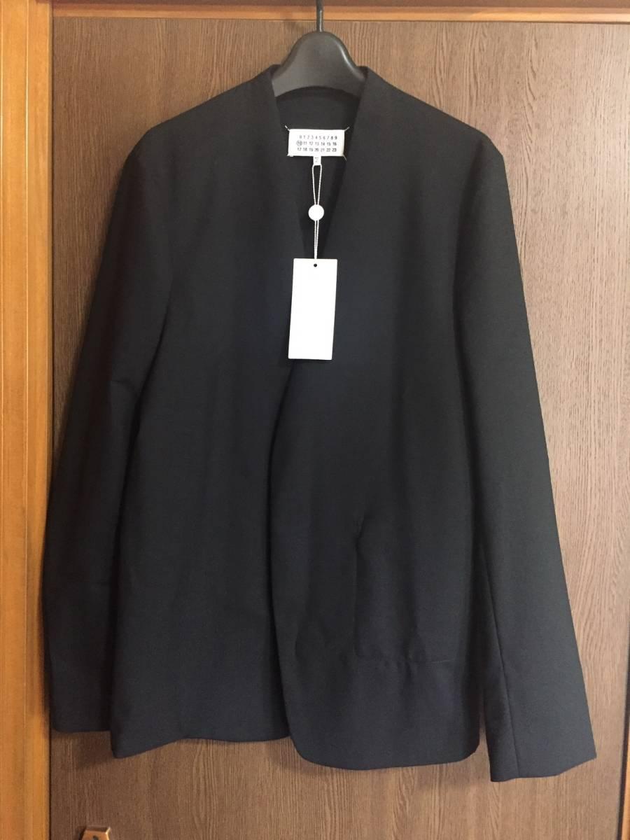 19AW新品46 メゾンマルジェラ ノーカラージャケット 今季 size 46 黒 S Maison Margiela 10 マルジェラ メンズ ブラック 今期 カーディガン
