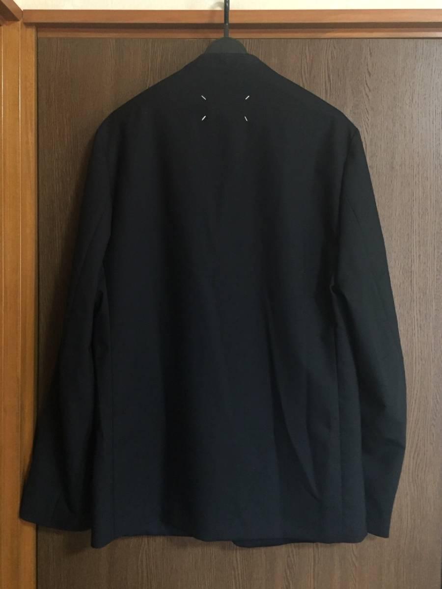 19AW新品46 メゾンマルジェラ ノーカラージャケット 今季 size 46 黒 S Maison Margiela 10 マルジェラ メンズ ブラック 今期 カーディガン_画像2