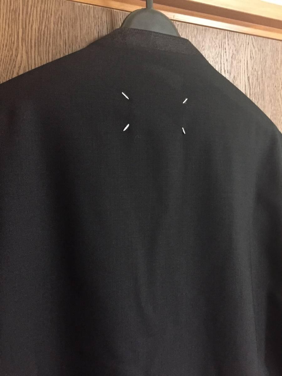 19AW新品46 メゾンマルジェラ ノーカラージャケット 今季 size 46 黒 S Maison Margiela 10 マルジェラ メンズ ブラック 今期 カーディガン_画像3