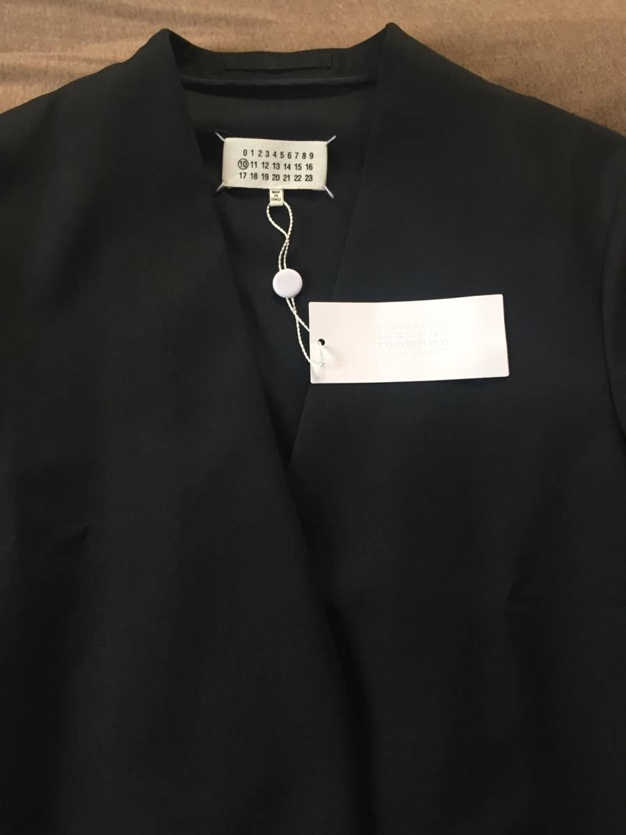 19AW新品46 メゾンマルジェラ ノーカラージャケット 今季 size 46 黒 S Maison Margiela 10 マルジェラ メンズ ブラック 今期 カーディガン_画像4