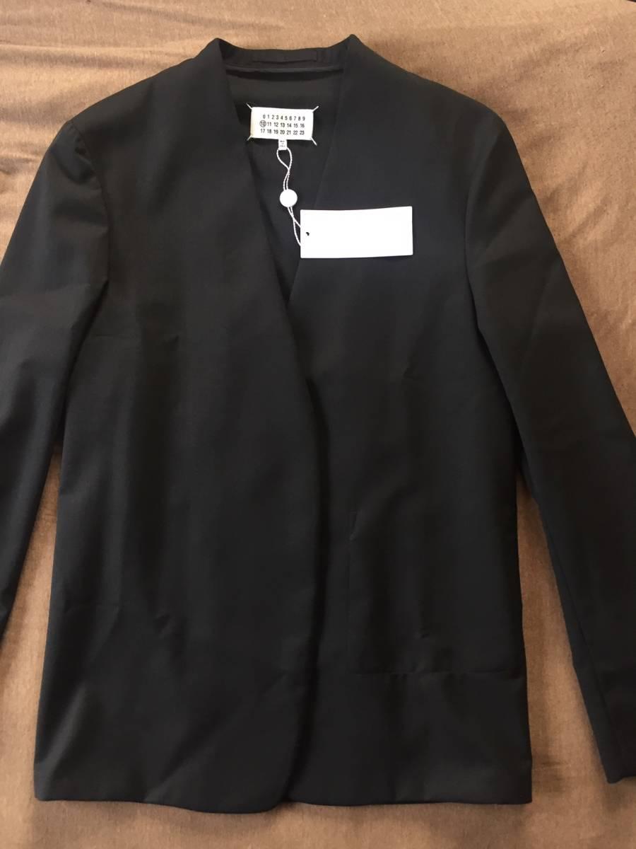 19AW新品46 メゾンマルジェラ ノーカラージャケット 今季 size 46 黒 S Maison Margiela 10 マルジェラ メンズ ブラック 今期 カーディガン_画像5