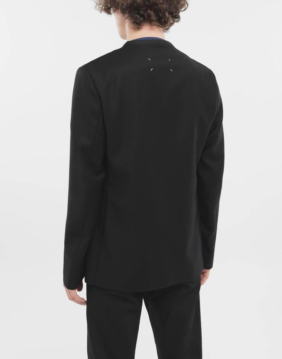 19AW新品46 メゾンマルジェラ ノーカラージャケット 今季 size 46 黒 S Maison Margiela 10 マルジェラ メンズ ブラック 今期 カーディガン_画像9