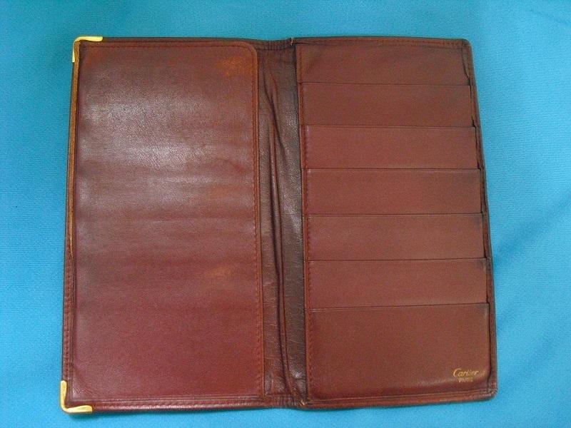 カルティエ ♪ 二つ折り カードケース 札入れ 長財布 正規品 Cartier マストライン レザー ウォレット ボルドー 革 _画像3