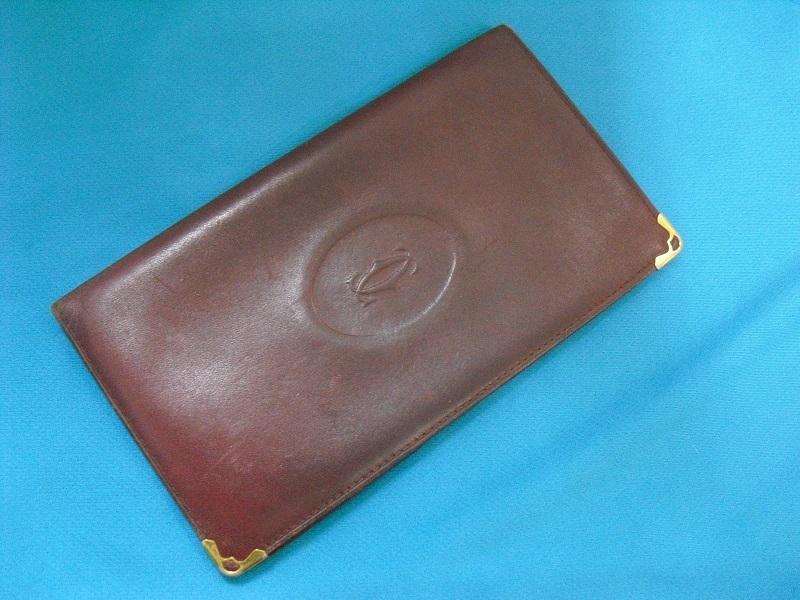 カルティエ ♪ 二つ折り カードケース 札入れ 長財布 正規品 Cartier マストライン レザー ウォレット ボルドー 革 _画像1