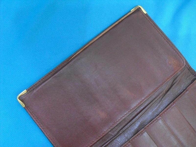 カルティエ ♪ 二つ折り カードケース 札入れ 長財布 正規品 Cartier マストライン レザー ウォレット ボルドー 革 _画像4