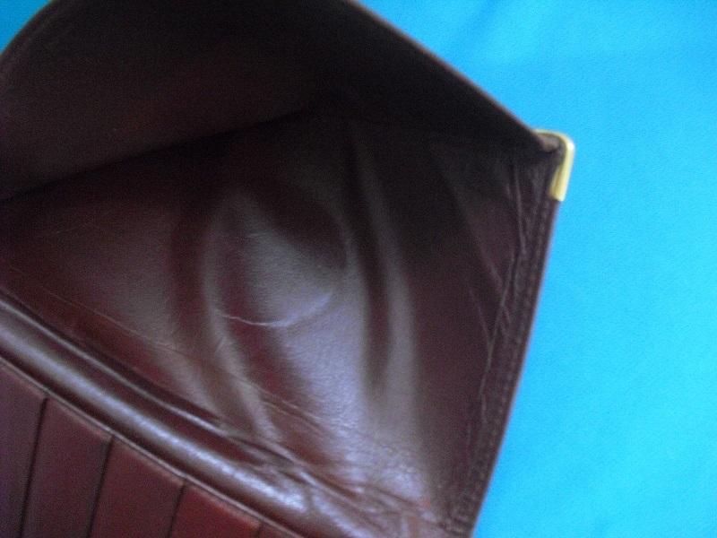 カルティエ ♪ 二つ折り カードケース 札入れ 長財布 正規品 Cartier マストライン レザー ウォレット ボルドー 革 _画像7