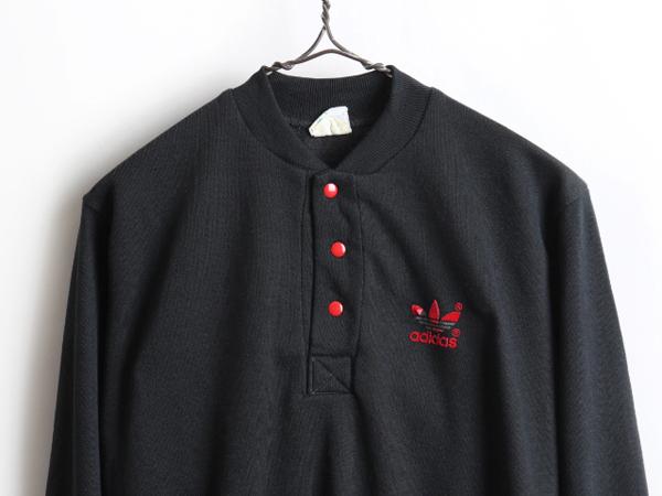 80's USA製 人気 黒 ■ アディダス ADIDAS トレフォイル ロゴ プリント ヘンリーネック スウェット ( 男性 メンズ M ) 古着 トレーナー 赤_画像2