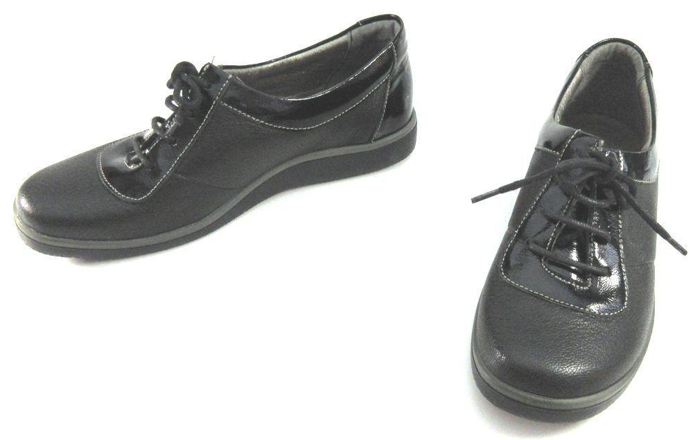 レディース左右サイズ違い靴 本革レースアップスニーカー ハッシュパピー Hush Puppies 婦人靴 左35/22.5cm右36/23cm 黒 U2172_画像6