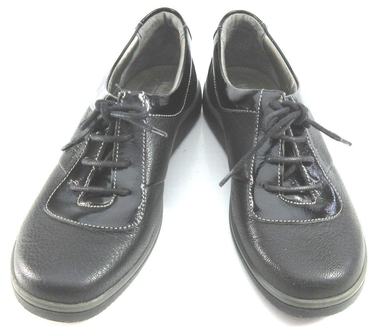 レディース左右サイズ違い靴 本革レースアップスニーカー ハッシュパピー Hush Puppies 婦人靴 左35/22.5cm右36/23cm 黒 U2172_画像3