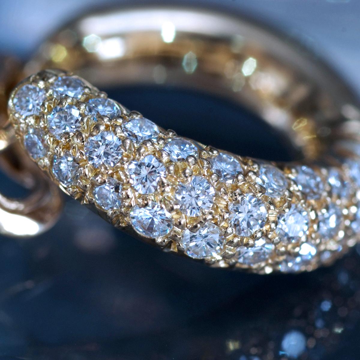 E9112【VAN CLEEF&ARPELS】ヴァンクリーフ&アーペル 絶品ダイヤ 最高級18金シングルピアス 重量4.38g 幅19.1×5.0mm 【買取&下取可能】_画像4