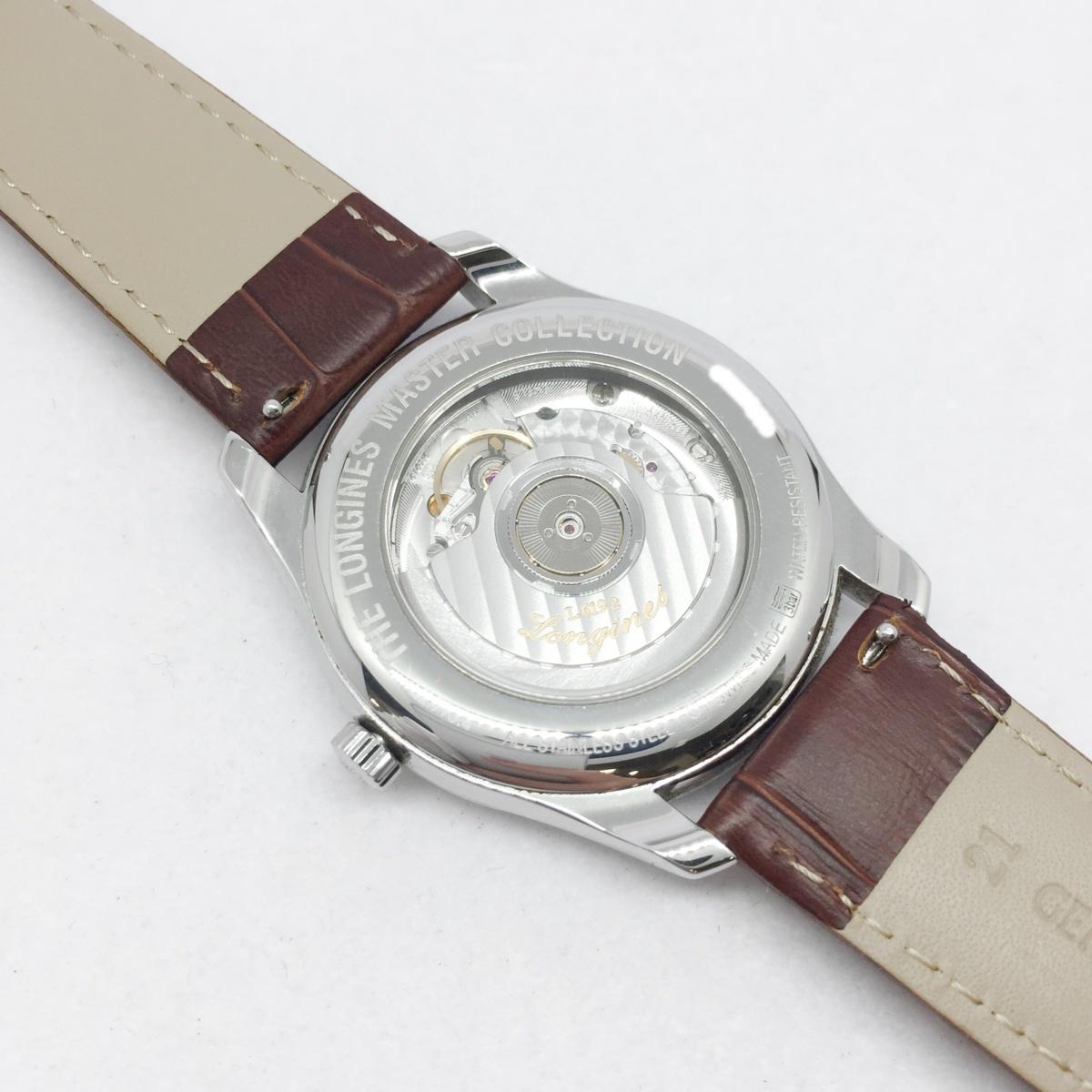 9-3525 【美品・新品社外ベルト】 ロンジン 腕時計 マスターコレクション L2.793.4.78.3 自動巻き デイト メンズ 純正革ベルト付属_画像2