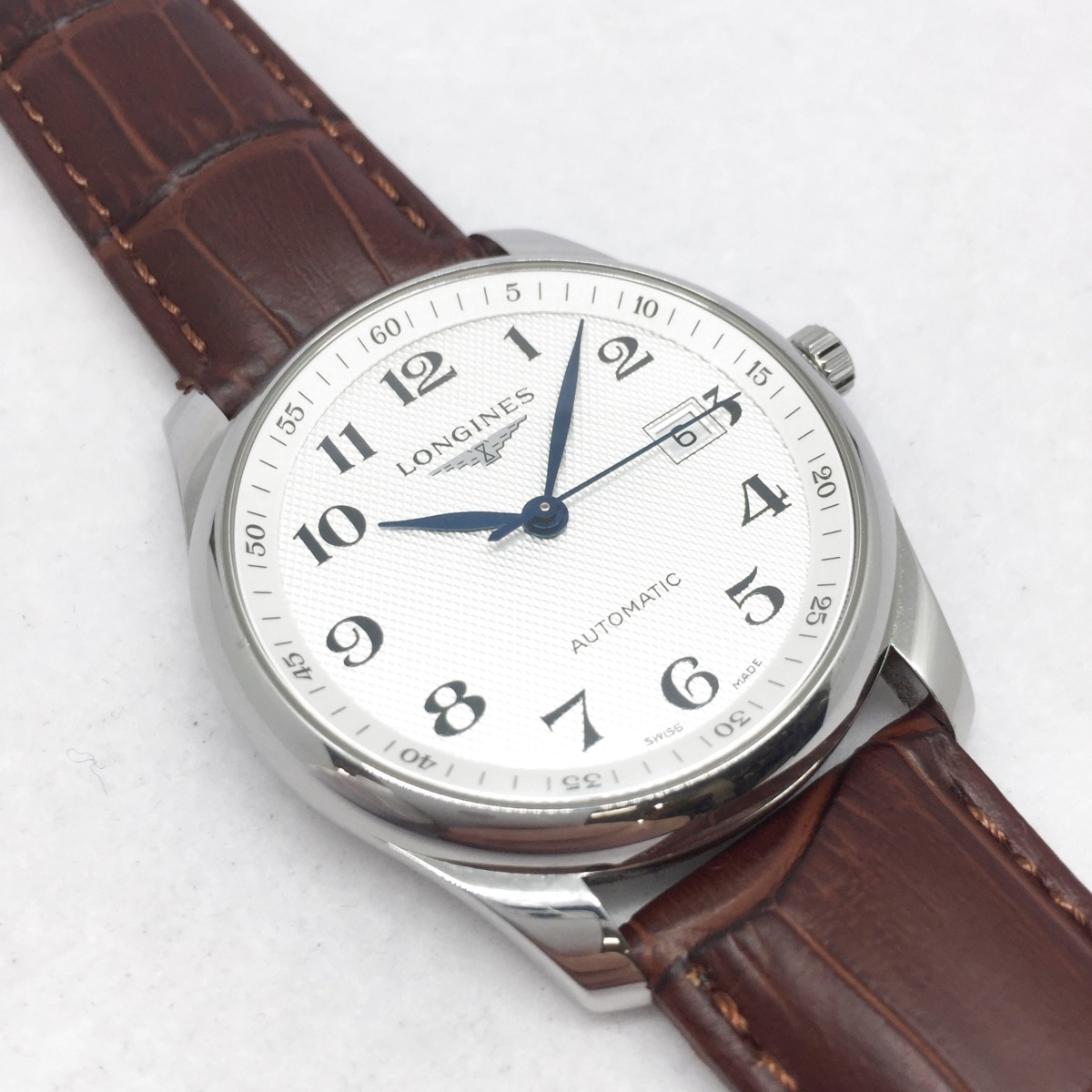 9-3525 【美品・新品社外ベルト】 ロンジン 腕時計 マスターコレクション L2.793.4.78.3 自動巻き デイト メンズ 純正革ベルト付属_画像1