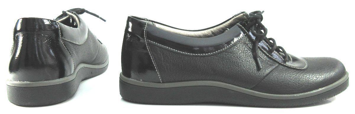 レディース左右サイズ違い靴 本革レースアップスニーカー ハッシュパピー Hush Puppies 婦人靴 左35/22.5cm右36/23cm 黒 U2172_画像2