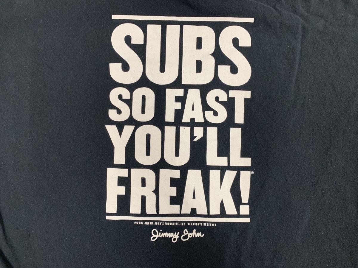 jimmy john's Tシャツ アメリカ輸入品 USA古着卸 アメカジ サイズ XL BIG オーバーサイズ furit of the loom タグ____画像3