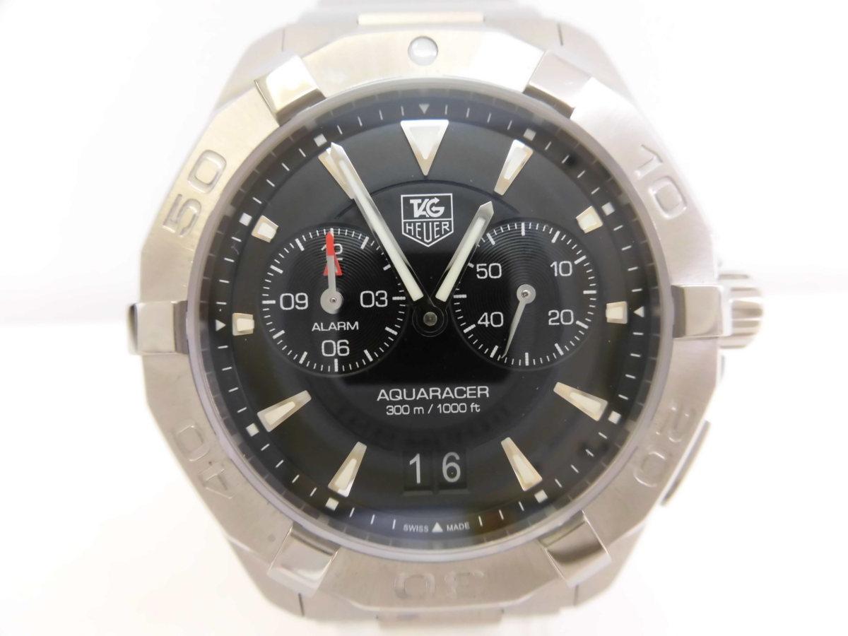 ●TAG HEUER タグホイヤー AQUARACER アクアレーサー アラーム メンズ クォーツ 腕時計 WAY111Z.BA0928 箱、余りコマ付き ★_画像3