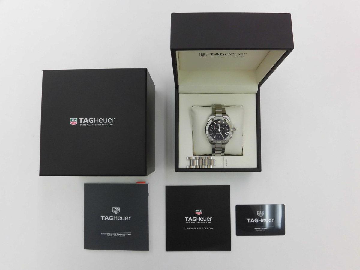 ●TAG HEUER タグホイヤー AQUARACER アクアレーサー アラーム メンズ クォーツ 腕時計 WAY111Z.BA0928 箱、余りコマ付き ★_画像1