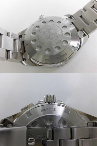 ●TAG HEUER タグホイヤー AQUARACER アクアレーサー アラーム メンズ クォーツ 腕時計 WAY111Z.BA0928 箱、余りコマ付き ★_画像6