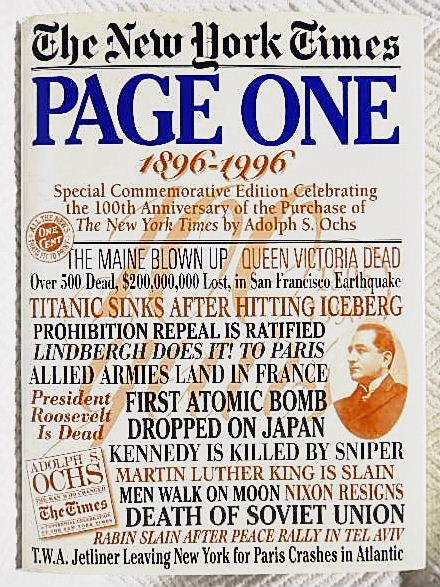 ☆洋書 The New York Times PAGE ONE COMMEMORATIVE EDITION 1896-1996 ニューヨークタイムズ1896-1996 一面縮刷集★_画像1