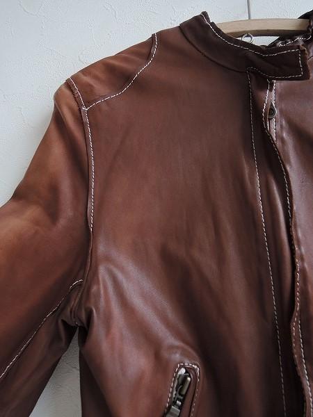 ■シシ Sisii シングルレザーライダースジャケットXXS皮革ブルゾンアウターブラウン系レディース0919【42I91】_画像3