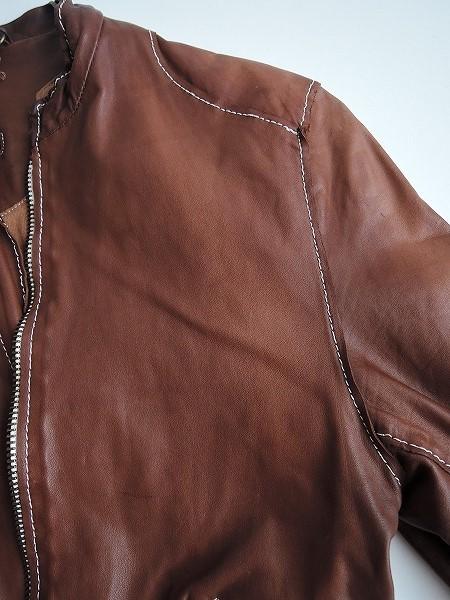 ■シシ Sisii シングルレザーライダースジャケットXXS皮革ブルゾンアウターブラウン系レディース0919【42I91】_画像8