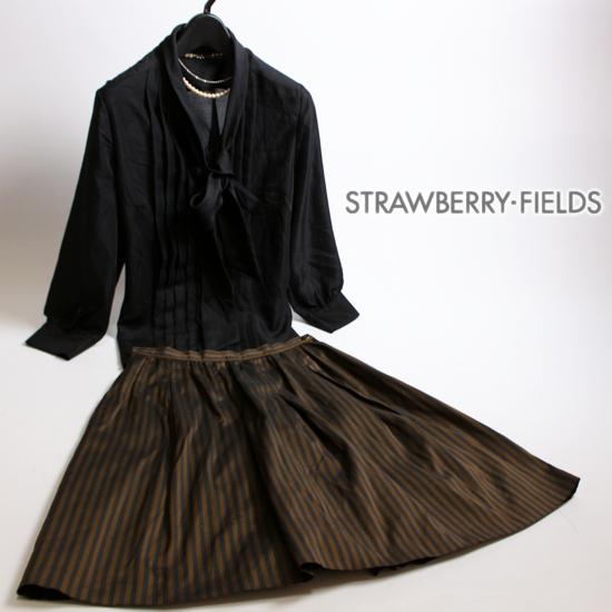 美品 STRAWBERRY-FIELDS ストロベリーフィールズ 大人 綺麗 合物 ストライプ 柄 艶 Aライン ギャザー フレア スカート 2 M 黒 ブラウン a_画像1