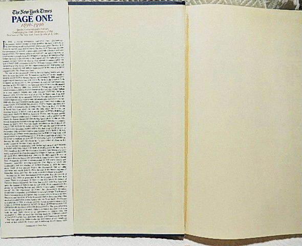 ☆洋書 The New York Times PAGE ONE COMMEMORATIVE EDITION 1896-1996 ニューヨークタイムズ1896-1996 一面縮刷集★_前後の見返しのノドにヨゴレ有