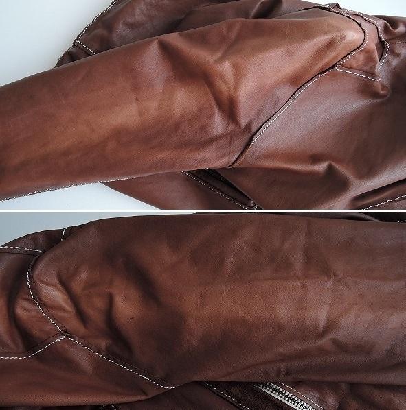 ■シシ Sisii シングルレザーライダースジャケットXXS皮革ブルゾンアウターブラウン系レディース0919【42I91】_画像5