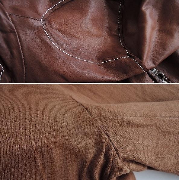 ■シシ Sisii シングルレザーライダースジャケットXXS皮革ブルゾンアウターブラウン系レディース0919【42I91】_画像4
