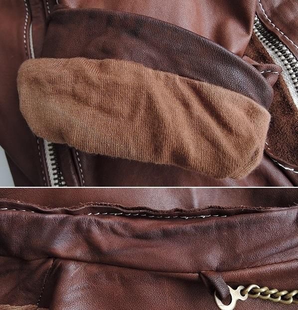 ■シシ Sisii シングルレザーライダースジャケットXXS皮革ブルゾンアウターブラウン系レディース0919【42I91】_画像6