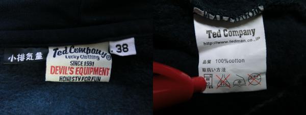 Ted Company テッドカンパニー ジップアップ スウェットパーカー ジャケット トップス サイズ38 紺 ネイビー_画像4