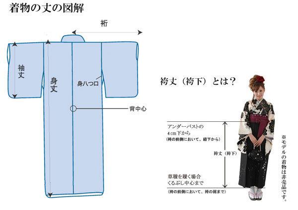 二尺袖 着物袴 フルセット 矢羽柄 紺色 卒業式 新品 (株)安田屋 NO23491_画像6
