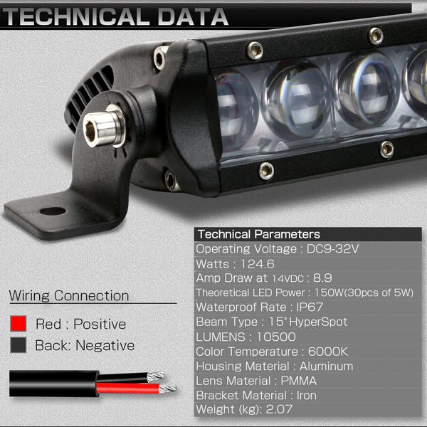 LEDライトバー 31インチ SRシリーズ 150W 10500ルーメン 狭角 ハイパー スポット ワークライト 作業灯 IP67 12V/24V対応 P-504_画像5